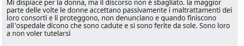 Commento alla notizia. Fonte: http://www.tgcom24.mediaset.it/cronaca/liguria/genova-picchia-la-moglie-per-24-anni-giudici-non-c-e-colpa-lei-ha-tollerato-_2143639-201502a.shtml